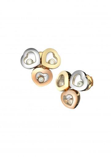 Pendientes Botón Happy Diamonds Icons en tres oros con diamantes
