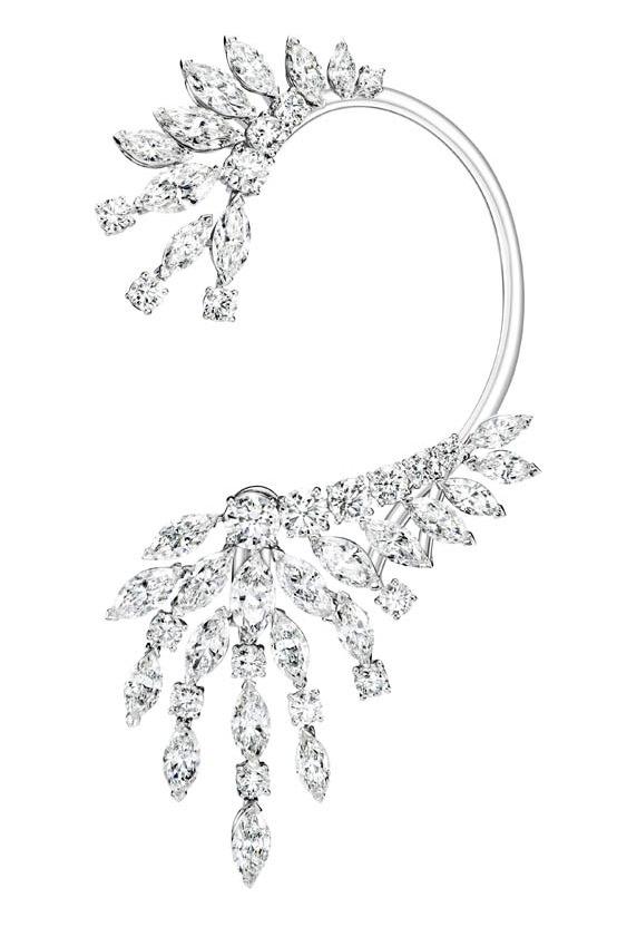 Collar en oro blanco con diamantes marquesa y brillantes engastados