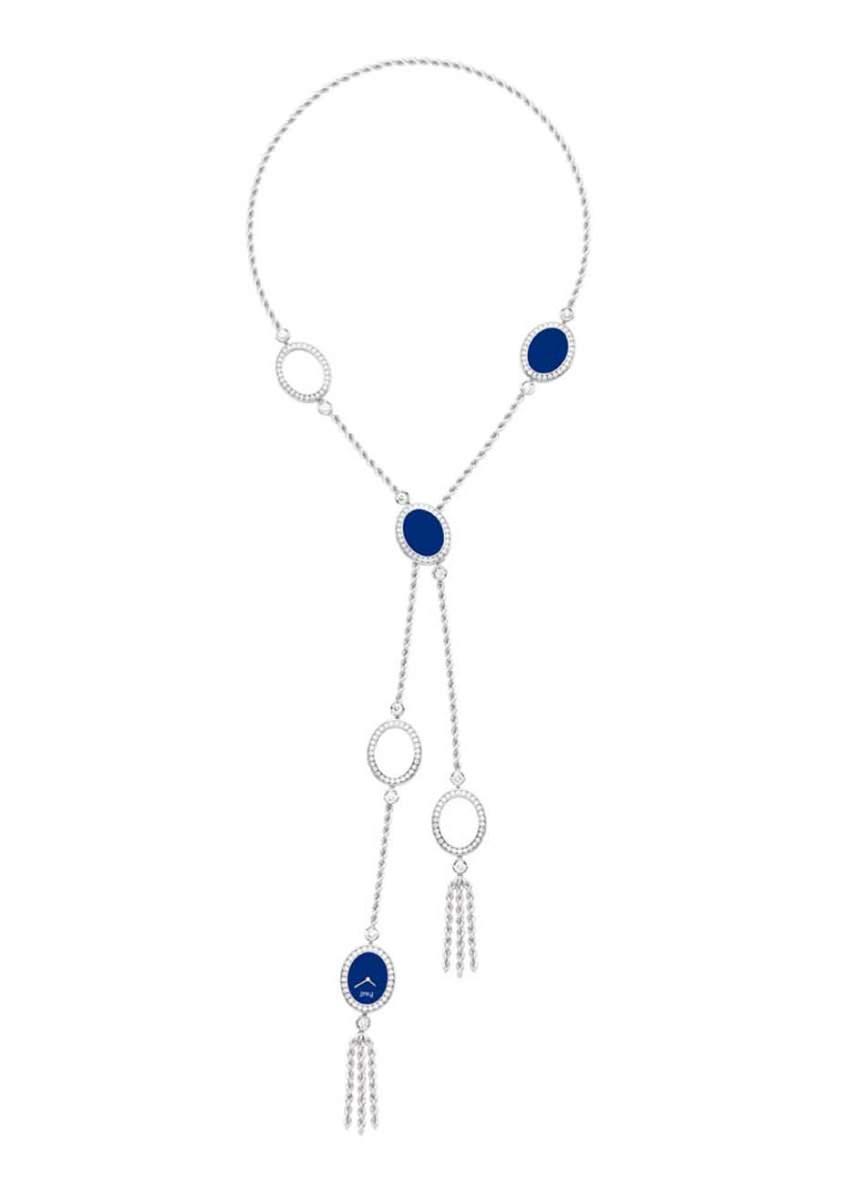 Collar oro blanco con lapislázuli y diamantes engastados