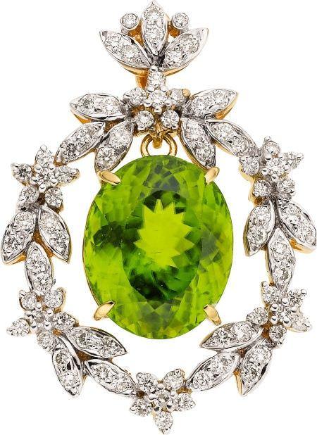 Colgante Dior en oro, peridoto y diamantes