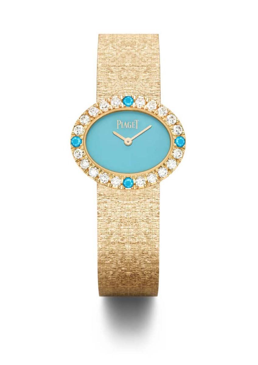 Reloj en oro rosa con turquesas y diamantes