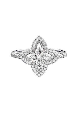 Solitario Les Ardentes de Louis Vuitton en oro blanco y diamantes con la flor monogram de Vuitton