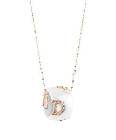 Colgante D.Icon de Damiani en esmalte blanco