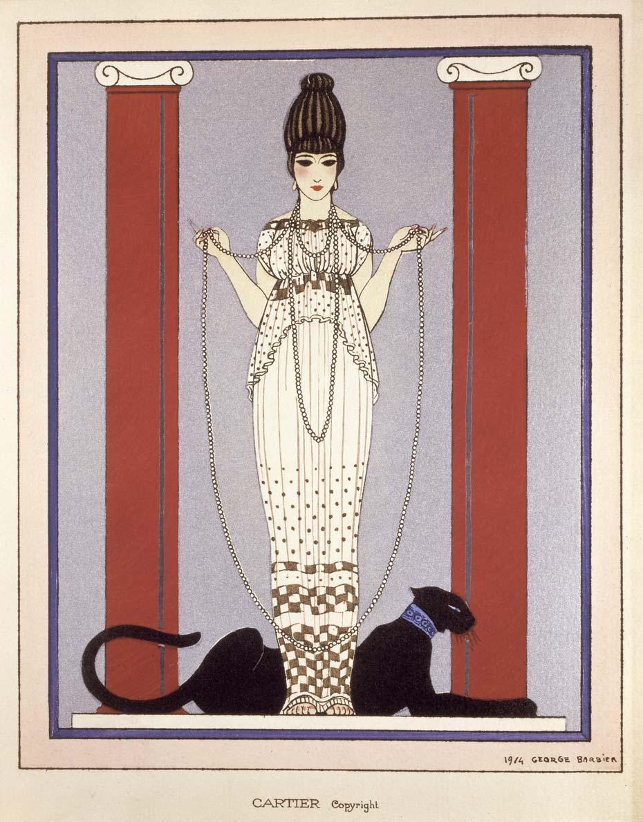 Dibujo de Georges Barbier para Cartier, nace la pantera....