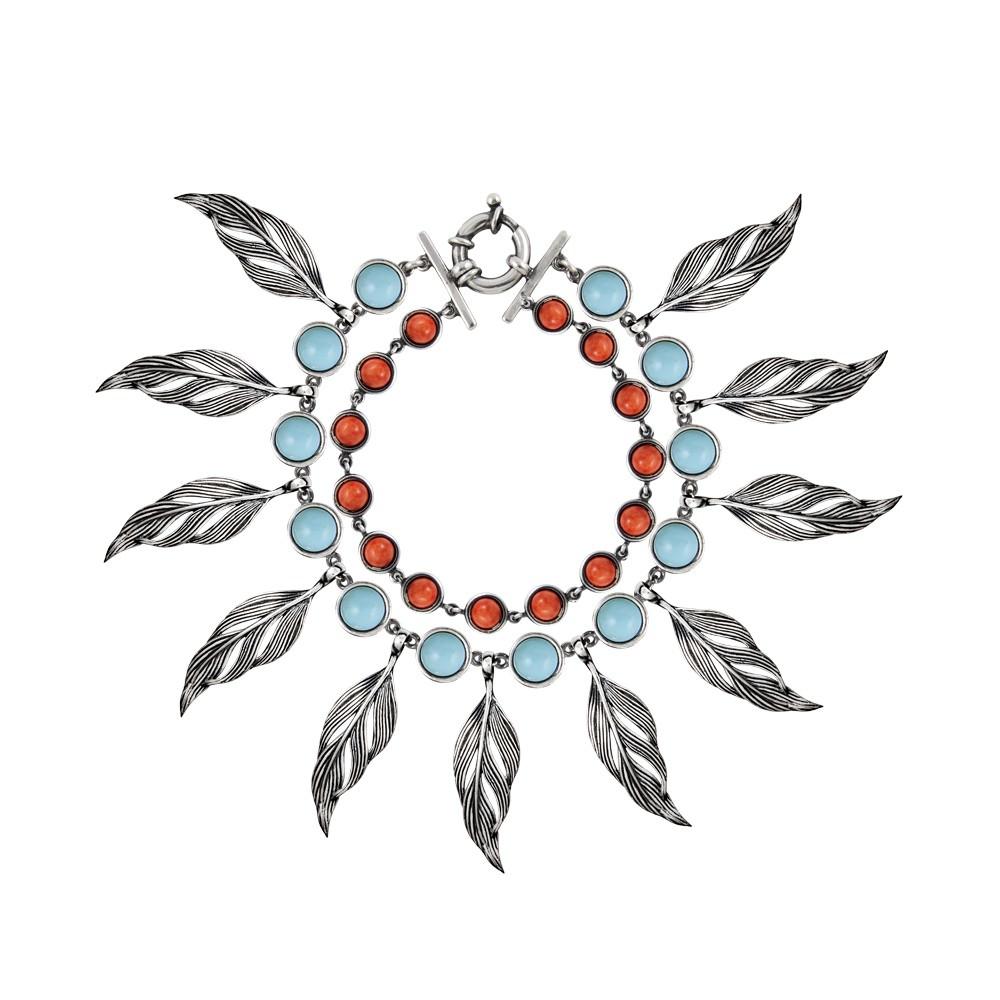 Pulsera Aristocrazy de plumas, en plata de ley, turquesa ecológica y concha de coral