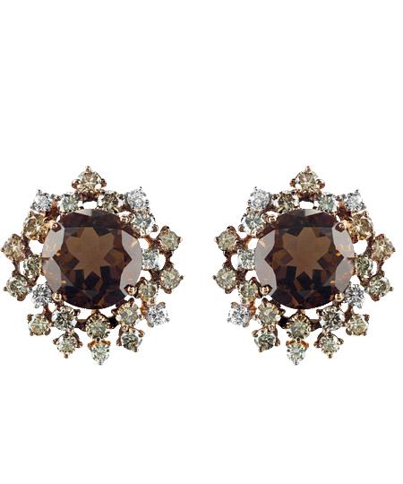 Pendientes Anima en oro rosa con diamantes marrones de 2,25 quilates y cuarzo ahumado