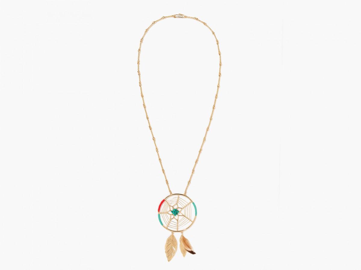 Collar Dreamcatcher de Aurélie Bidermann P/V2015 en plata bañada en oro con turquesas, algodón de colores y plumas