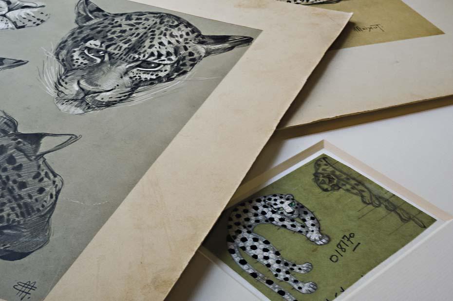 Bocetos con panteras del archivo de Cartier