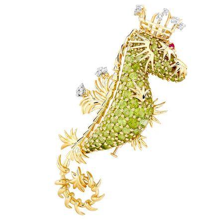 Broche de Jean Schlumberger para Tiffany con peridotos, diamantes, rubíes en oro amarillo de 18 quilates