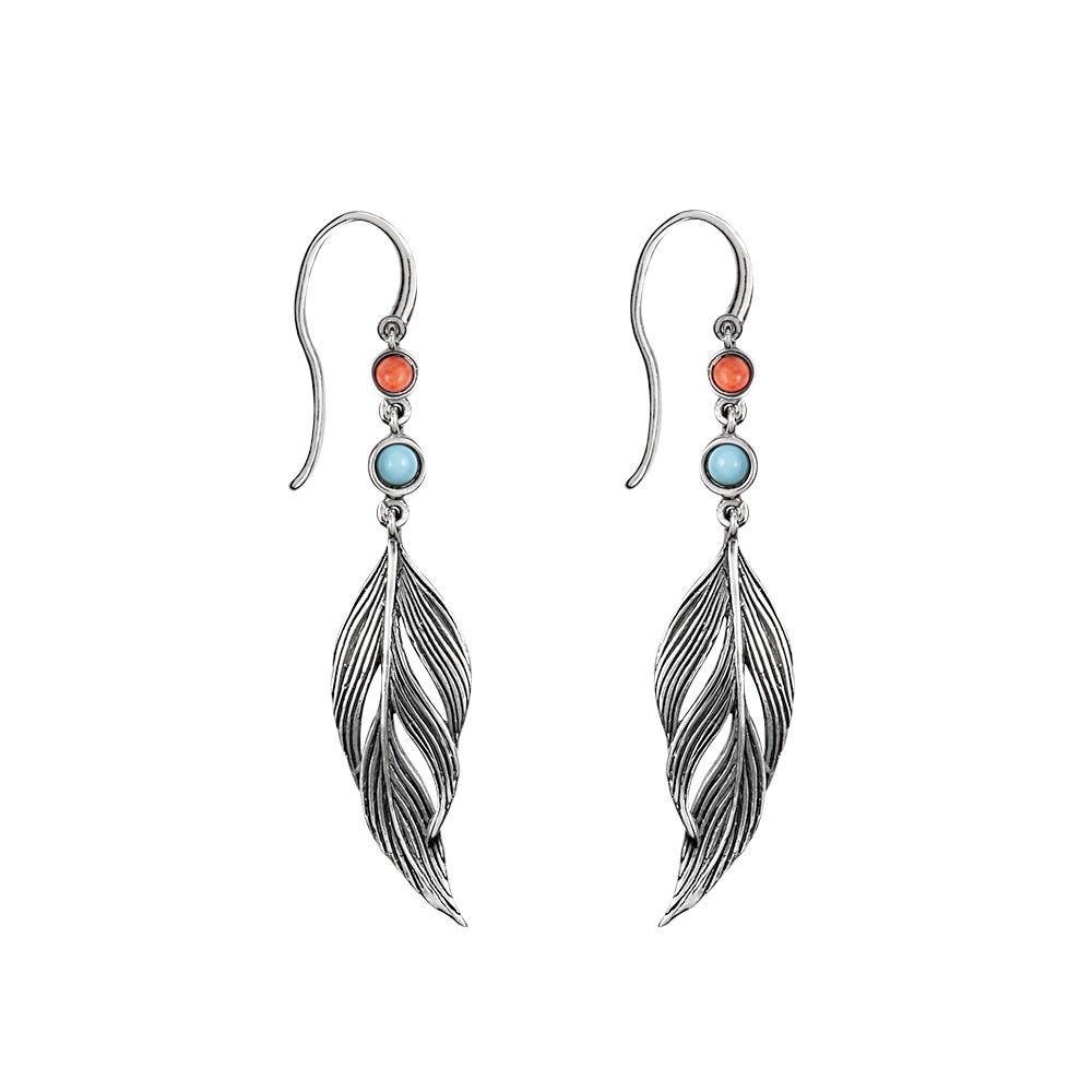 Pendientes Aristocrazy de plumas en plata de ley, turquesa ecológica y concha de coral
