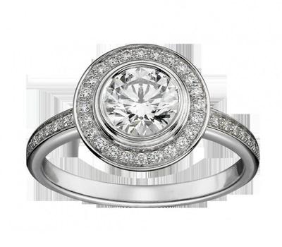 Solitario en platino y diamantes