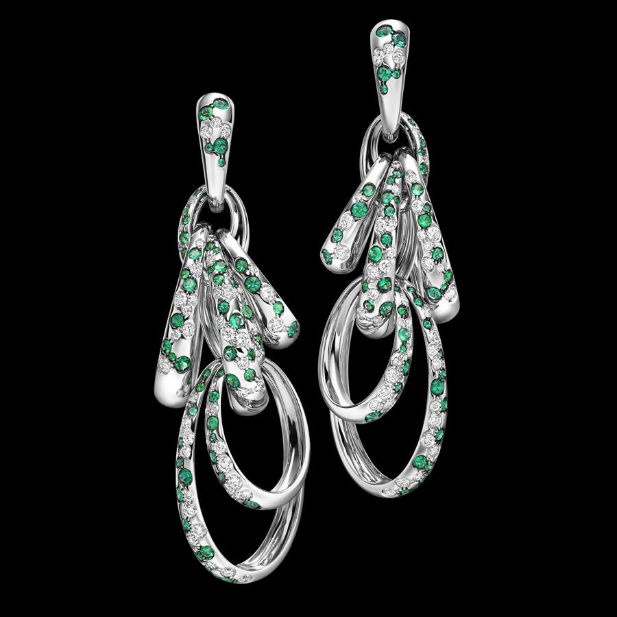 Pendientes Catene De Grisogono en oro blanco, diamantes y esmeraldas