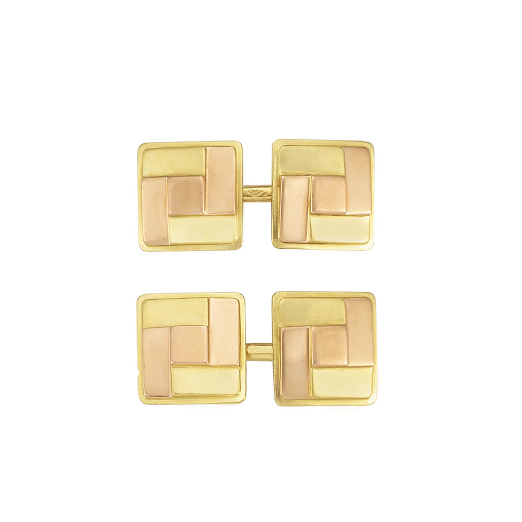 Gemelos Retro Cartier en oro de dos colores - estimado entre $1.000 y $1.500