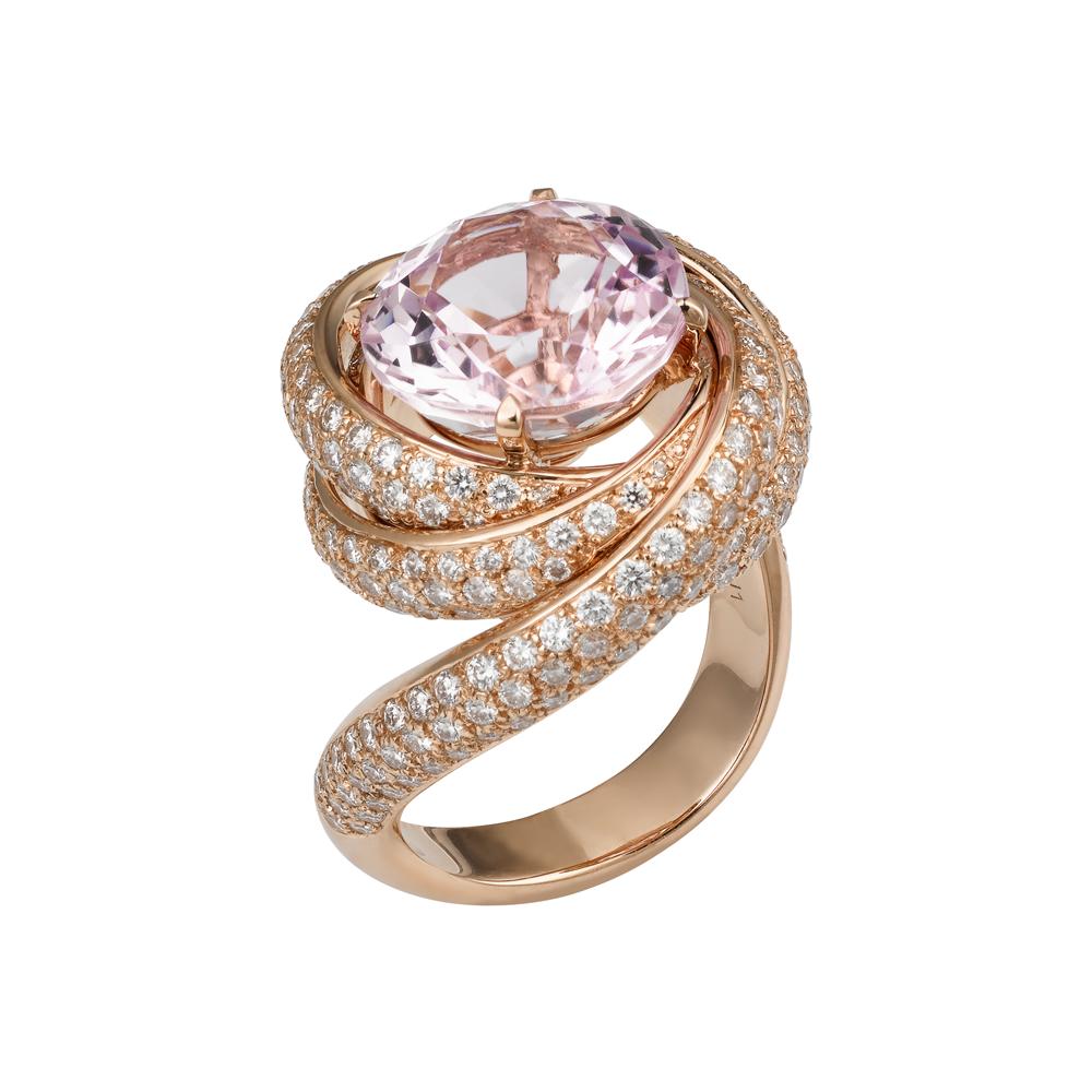 Sortija Trinity en kunzita, oro rosa y diamantes