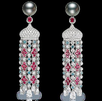 Pendientes Sarafan de Fabergé con oro blanco, perlas, diamantes blancos y diamantes rosas