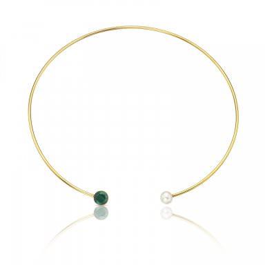 Gargantilla Bright con cuarzo verde y perla cultivada - 139€