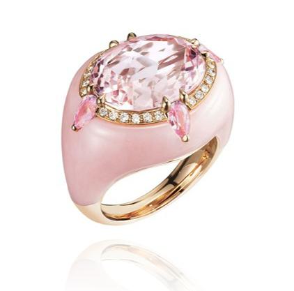 Anillo de Bogh-Art en oro con morganita inscrustada en ópalo rosa y diamantes