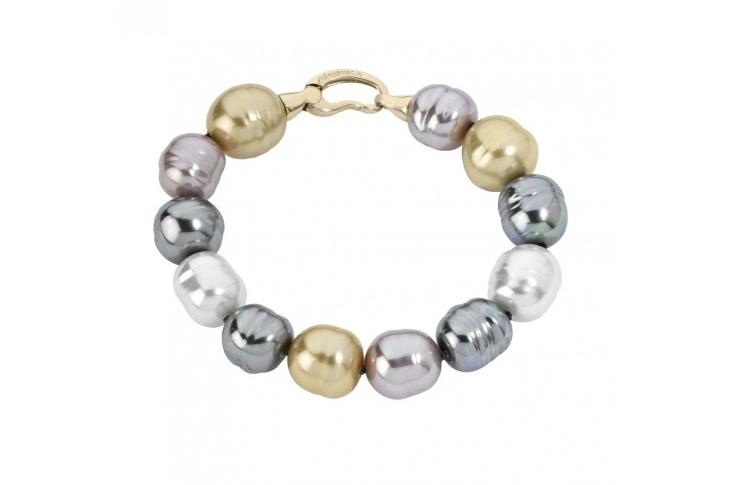 Pulsera Baroque con perlas barrocas multicolor de 12 mm  y cierre mosquetón - precio 118€
