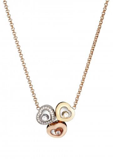 Colgante Happy Diamonds Icons en tres oros y diamantes con pavé de diamantes