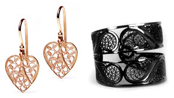 Pendientes fligrana en oro rosa y brazalete filigrana en rodio negro de Arabel Lebrusan
