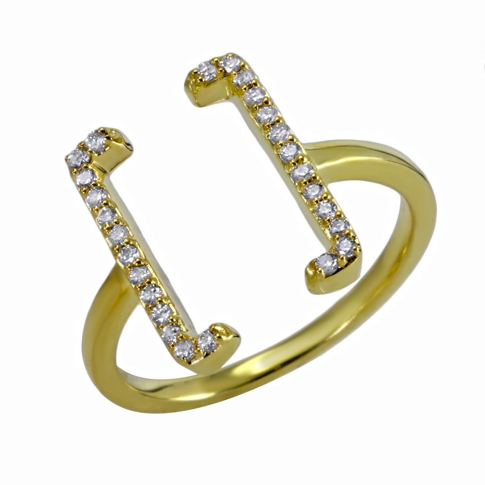 Anillo Square Brackets en oro y diamantes - U$1.085