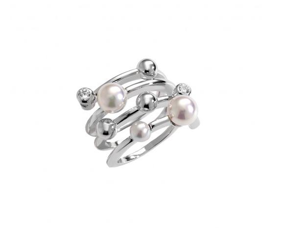 Anillo Bubbles en plata rodiada con perlas redondas de 4 mm en blanco y circonitas - precio 100€