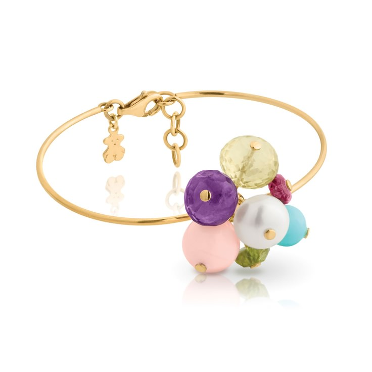 Esclava Tous Kudara en oro con cuarzo, peridoto, amatista, cuarzo rosa, perla, opalo azul y rosa
