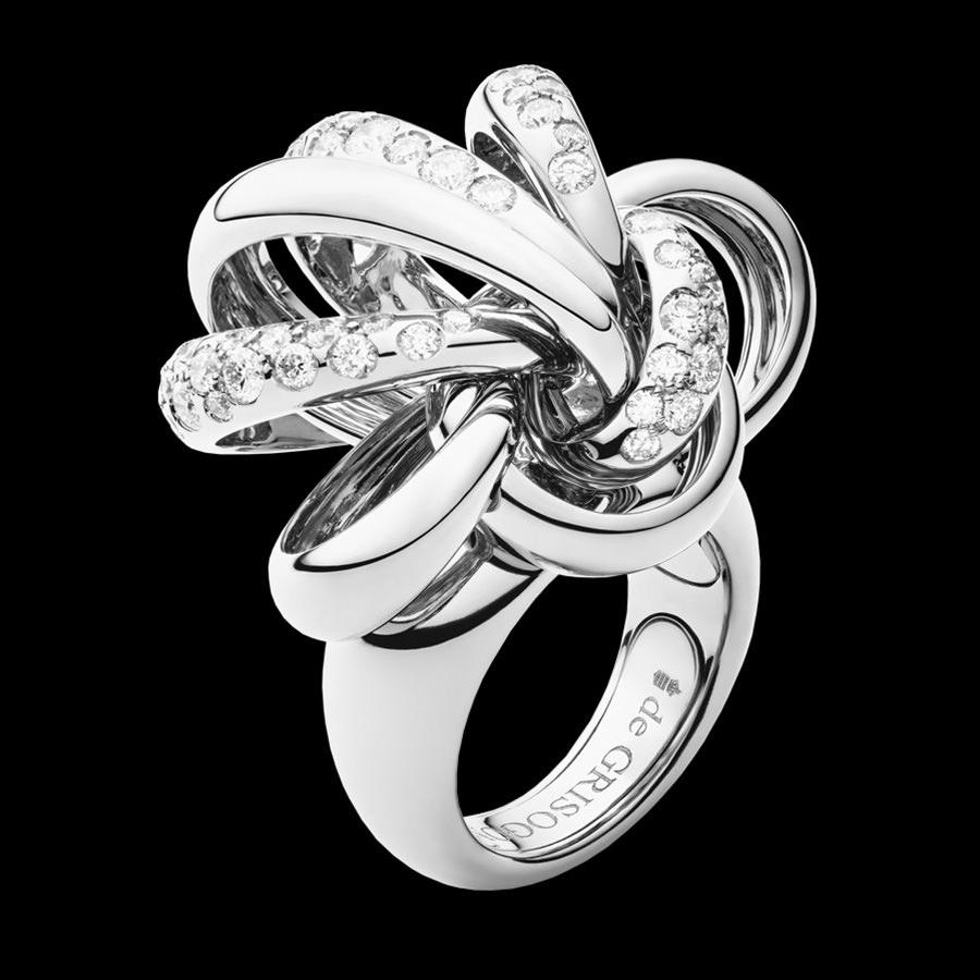 Anillo De Grisogono en oro blanco y diamantes
