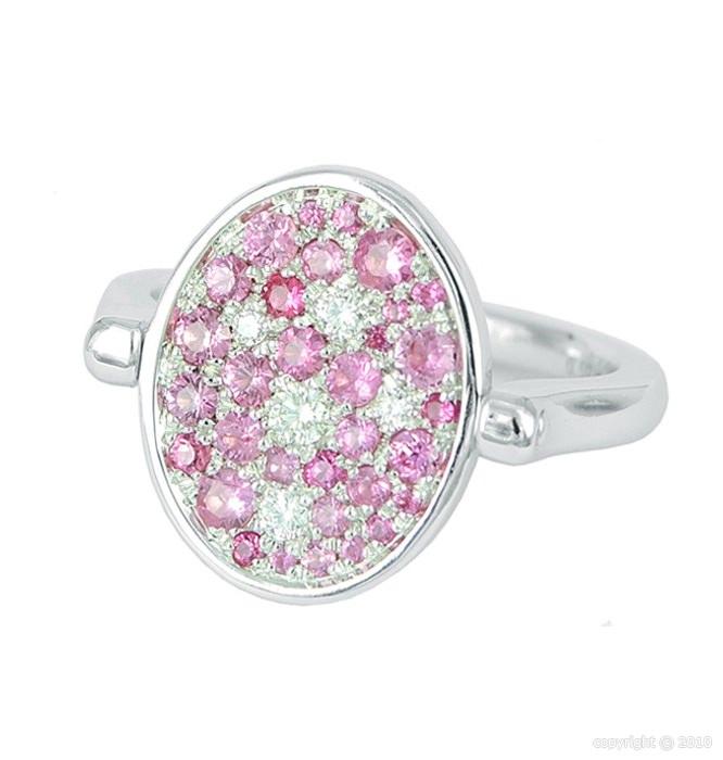 Sortija Twist reversible en pavé de diamantes y zafiros rosas