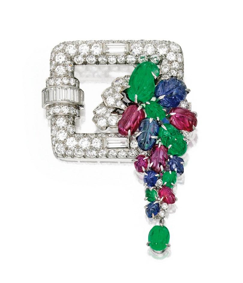 Broche en platino, gemas y diamantes de Francia
