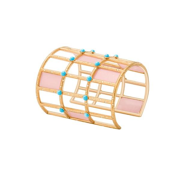 Brazalete en ro rosa con ópalo rosa, turquesas y diamantes
