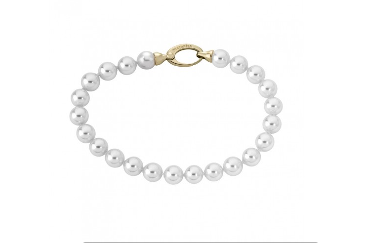 Pulsera clásica en plata dorada con perla blanca de 7bmm y cierre mosquetón - precio 67€