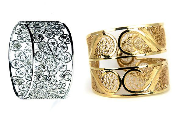 Brazaletes en filigrana de Arabel Lebrusan en plata y oro amarillo