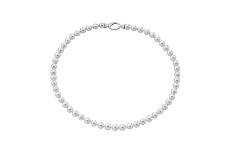 Collar Clásico en perla blanca de 6 mm y plata rodiada - precio 103€
