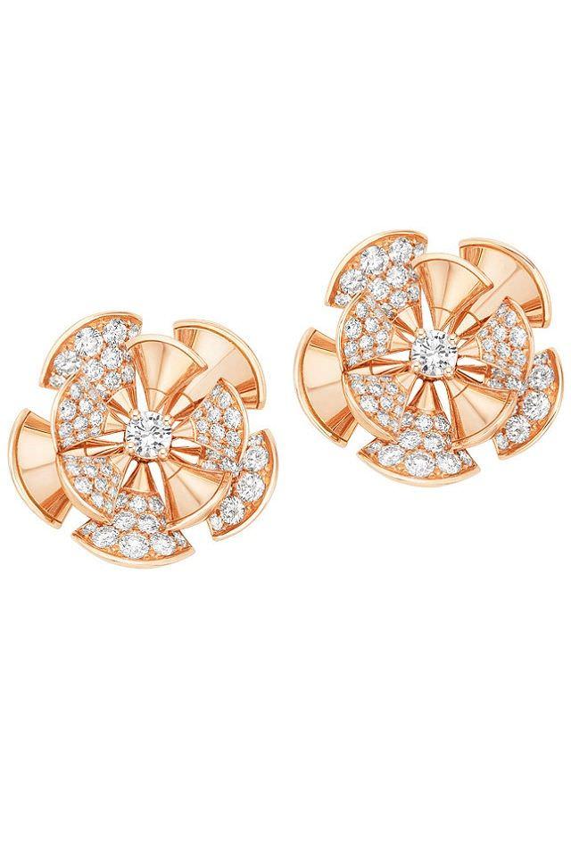 Pendientes Diva de Bulgari en oro rosa y diamantes