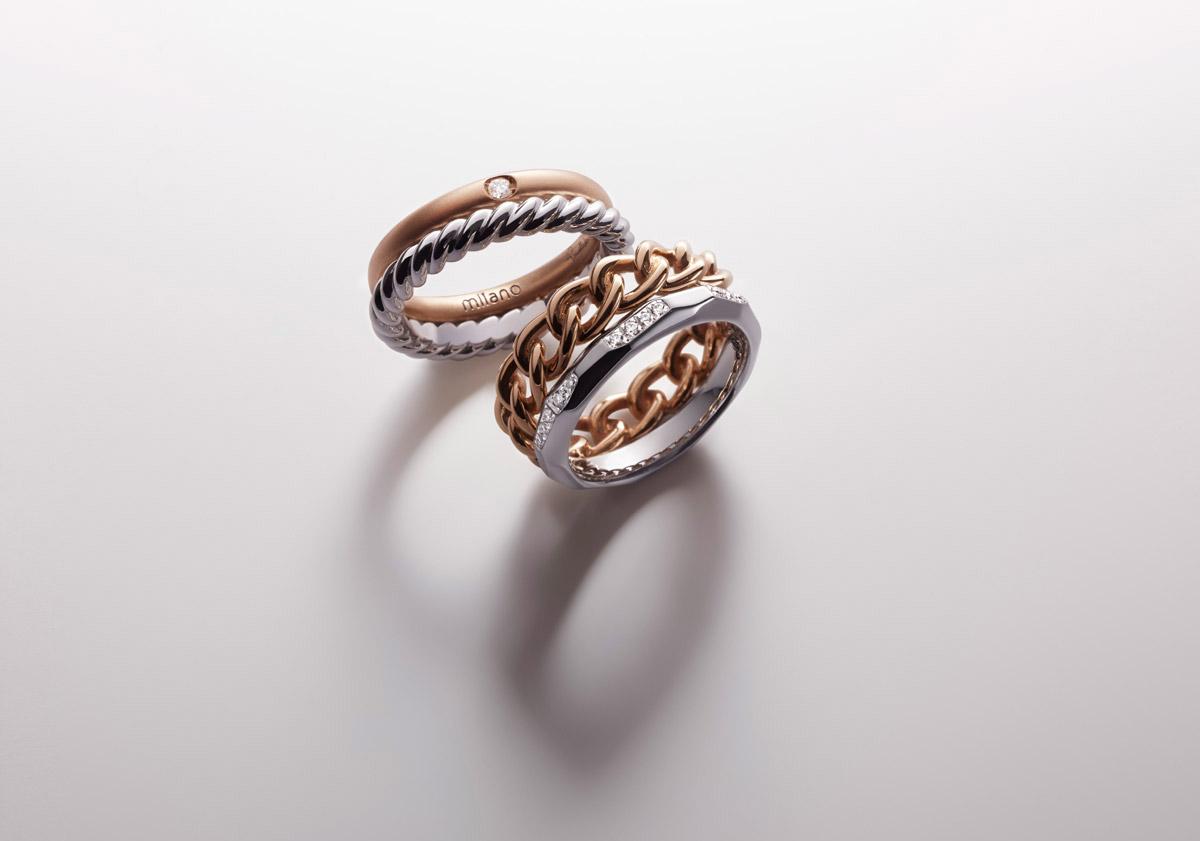 Anillos Accademia Assoluto en oro rosa, rodio plateado, oro blanco y diamantes
