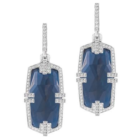 Pendientes Colgantes Patras en oro blanco con zafiros azules y diamantes