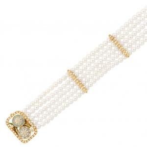 Pulsera Masriera con 5 filas de perlas cultivadas, oro, esmalte y diamantes - estimado entre $1.500 y $2.000