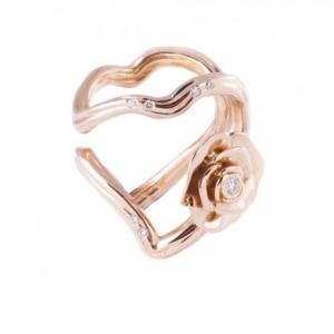Anillo Silueta, Corazones y Rosas, en oro rosa y diamantes. Precio 1.550€