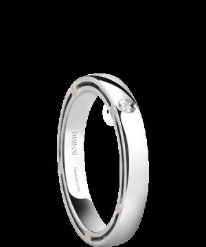 Alianza D.Side en oro blanco con un diamante de 0.01 quilate