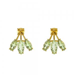 Pendientes Pearcing Aristocrazy en plata con baño de oro, cuarzo verde y cuarzo citrino