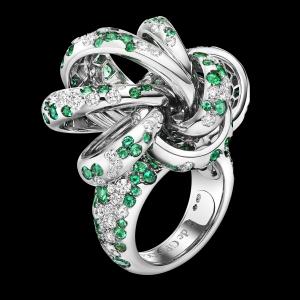 Anillo De Grisogono  Catene en oro blanco, diamantes y esmeraldas