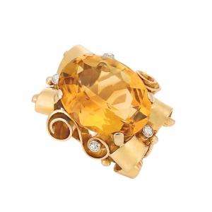 Anillo Retro en oro, platino, citrino oval de aprox. 19.50 qts. y diamantes - estimado entre $2.000 y $3.000