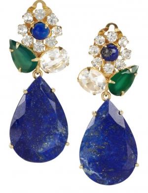 Pendientes Bounkit Chandelier en motivo floral y lapislázuli - 454€