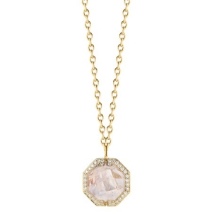 Collar Patras en cadena de oro amarillo con piedra de luna arco iris y diamantes