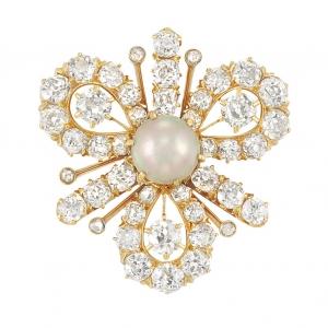 Broche Antigüo Tiffany & Co. en oro, diamantes y perlas naturales - estimado entre $6.000 y $8.000