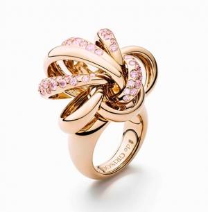 Sortija Catene De Grisogono en oro rosa y zafiros rosas