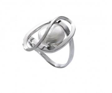 Anillo Embrace en plata rodiada con perla oval bombada en blanco - precio 80€