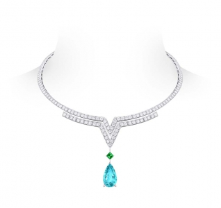 Collar Apotheosis Acte V de Louis Vuitton con una turmalina en lágrima, una esmeralda y diamantes