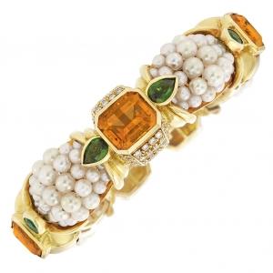 Brazalete rígido en oro, perlas cultivadas, citrino, granate verde y diamantes - esetimado entre $2.500 y $3.500